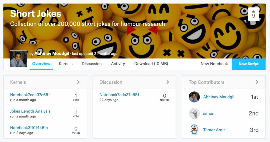 ジョークを集めたデータセット – Collection of over 200,000 short jokes for humour research